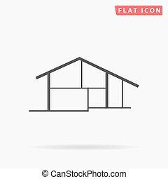 petite maison, simple, plat, icône