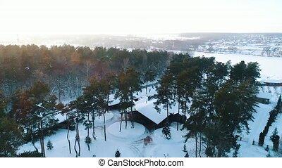 petite maison, sommet, hiver, vue