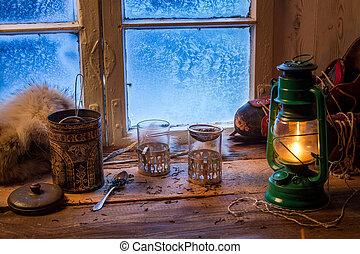 petite maison, sur, a, surgelé, jour, dans, hiver