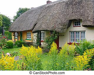 petite maison, toit couvert chaume, typique