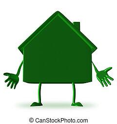 petite maison, vert, caractère, découragé
