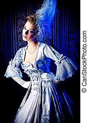 petite - Portrait of the elegant woman in medieval era...