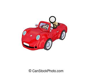 petite voiture, intérieur., rouges, homme
