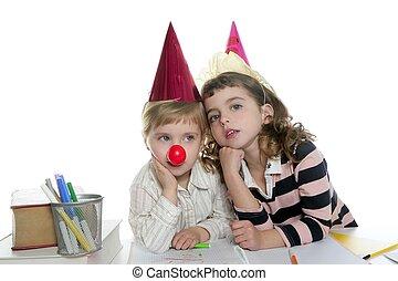 petites filles, école, deux, étudiant, fête