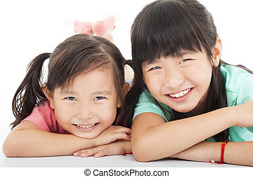petites filles, heureux, asiatique, deux