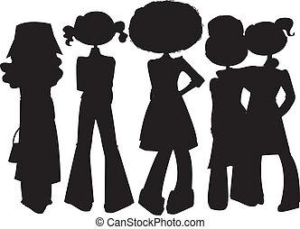 petites filles, silhouettes, set.