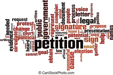 Petition word cloud concept. Vector illustration