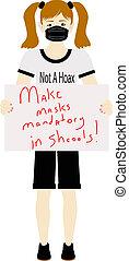petitioning, signe, écoles, girl, masques, tenue