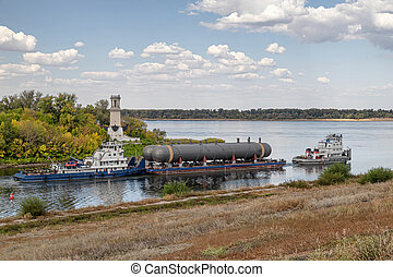 petits coups, rivière, deux, aide, réservoirs, transport, entreprises, pétrochimique, grand