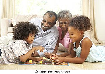 petits-enfants, grands-parents, panneau jeu, maison, jouer