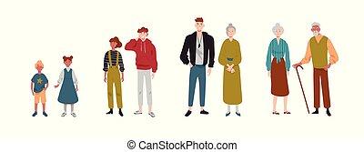 petits-enfants, soeur, gens., grandparents., couples, enfants, gosses, frère