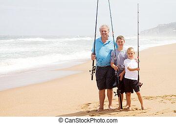 petits-fils, plage, papy, peche