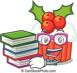 petits gâteaux, étudiant, isolé, livre, délicieux, noël, mascotte