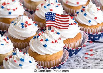 petits gâteaux, américain, patriotique, drapeau
