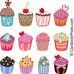 petits gâteaux, coloré, ensemble, vecteur