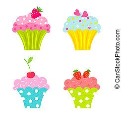 petits gâteaux, fruits