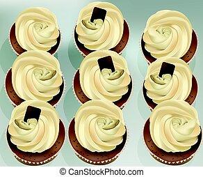 petits gâteaux, sur, a, blanc, table., été, délicieux,...