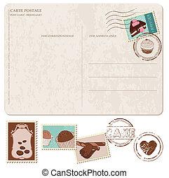 petits gâteaux, vieux, carte postale, -, timbres, mettez stylique, scrapbooking