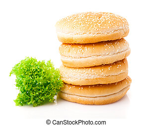 petits pains hamburger, isolé, blanc