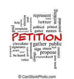 petizione, parola, nuvola, concetto, in, rosso, cappucci