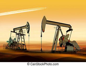 petróleo bombea, en, desierto