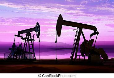 petróleo bombea, en, nube, cielo
