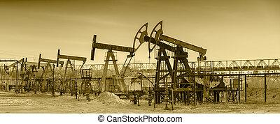 petróleo bombea, en, un, aceite, field.
