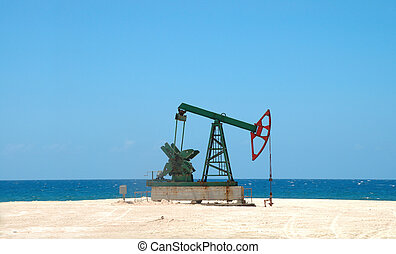 petróleo, extracción, en, cubano, tierra