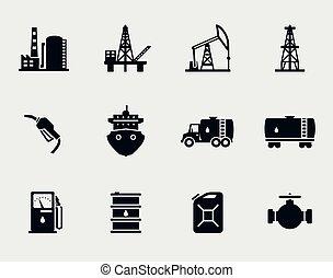 petróleo, y, aceite, iconos, conjunto