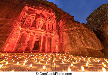Petra by Night in Jordan. - Treasury (Khasneh) in Petra,...