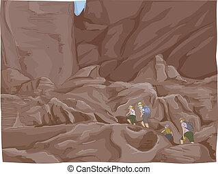 Petra Ruins Climb - Illustration Featuring a Family Climbing...