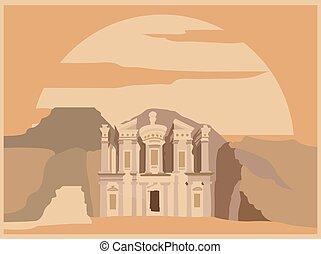 petra., template., edificios, gráfico, ciudad, jordan.