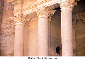Petra Treasury closeup - The Treasury monument in the old...