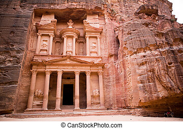 The Treasury monument in the old Nabataean city Petra, Jordan
