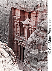 Petra treasury - View of the red rose city of Petra from...