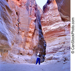 The Siq, the narrow slot-canyon - PETRA,JORDAN-SEPTEMBER...