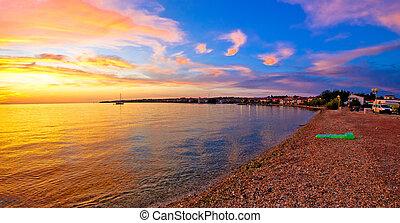 Petrcane beach golden sunset view