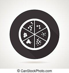 Petri dish black round vector icon - Single black round flat...