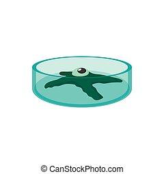 Petri dish with bacteria cartoon icon