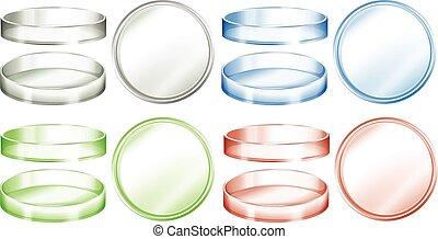 petri diskning, in, olik, färger
