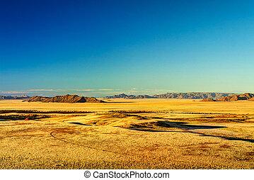 Petrified dunes at the sunset in Namib desert, Namibia