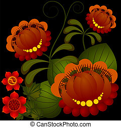 Petrikov painting. Traditional Ukrainian national flower...