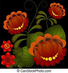 Petrikov painting. Traditional Ukrainian national flower pattern. eps 10