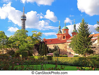 Petrin Lookout Tower (Petrinska rozhledna) in park in center...