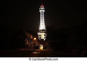 Petrin Tower - Replica of the Eiffel Tower on Petrin Hill...