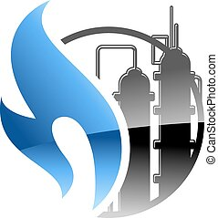 Petrochemical and gas industry icon with a burning blue...