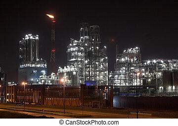 petrochemical berendezés, alatt, a, éjszaka
