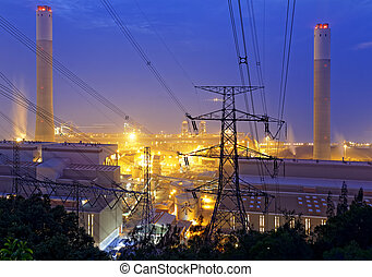 petrochemical industrial plant at night - petrochemical...