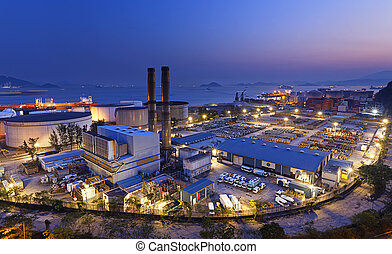 petrochemical industrial plant at night , Coal power station...