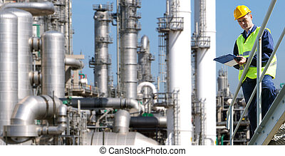 Petrochemical industry - A petrochemical engineer, with a...